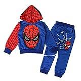 AEIL Felpe con Cappuccio da Uomo Casual Felpe con Cappuccio per Bambini 2 Pezzi Outfit Spiderman Cosplay Set Manica Lunga Abbigliamento Sportivo Tuta