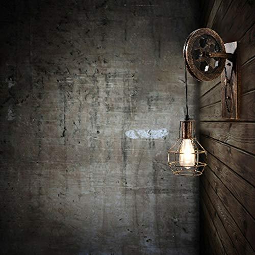 Lámpara de pared vintage, 220 V, creativa, retro, industrial, polea E27, lámpara de pared, para escaleras, pasillos, terrazas, patios y jardines