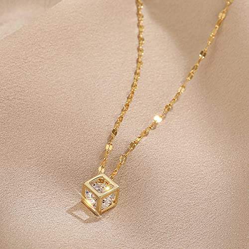 Collares Joyería Colgantes Colgante De Cristal De Circón Cuadrado De Moda, Collar De Mujer, Moda Coreana, Bonitas Señoras, Cadena De Clavícula De Acer