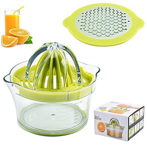 HUYIWEI Exprimidor Manual de Limón 4 en 1,Exprimidor de Naranjas, Limas;Plástico,Sin BPA,Vaso Medidor Integrado y Rallador De Huevos Antideslizante,Apto Para Lavavajillas