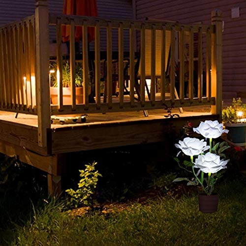 primrosely Holiday Garden Decoration Solar 3led Rosenlaterne, Rose Bonsai Simulationsblume, LED Topf Topflampe Nachtlicht