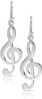BLING BIJOUX Melody Note Music Dangle Earrings Never Rust 925 Sterling Silver Natural and Hypoallergenic Hooks For Women a...