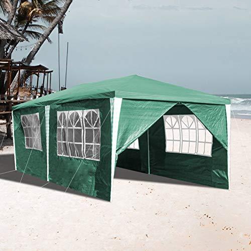 VINGO 3x6m Pavillon Wasserdicht mit 6 Seitenteilen Grün Gartenzelt Partyzelt UV-Schutz Gartenpavillon für Garten Kindergeburtstag Markt Camping