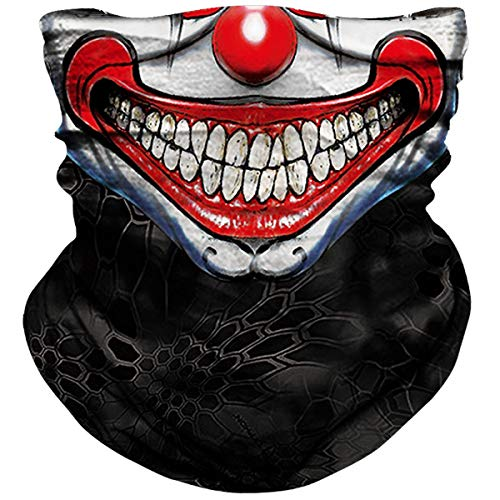 NTBOKW Clown Neck Gaiter Bandana for Sun Dust Wind Protection Mask for Motorcycle Riding Fishing Hunting Festival Outdoor Seamless Mask 3D Skeleton Mask for Men Women (Clown Mask 0601Y)