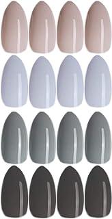 BABALAL 96Pcs Medium Almond Fake Nails Glossy 4 Color False Nails Set Colorful Full Cover Artificial Press on Nails for Wo...