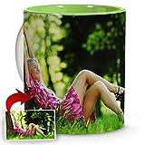 LolaPix Tazas mamá. Regalos Personalizados con Foto. Taza Personalizada de cerámica. Taza con Interior de Color Verde Claro.
