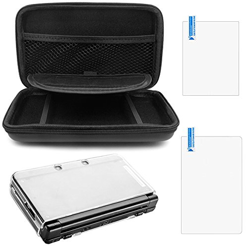 Protective Carrying Case Compatible NEW 3DS XL, with Hard Cover and 2 pcs Screen Protectors, AFUNTA Hard Shell Travel Bag, Protective Films for Top and Bottom Screen