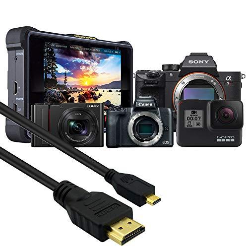 Cable 7.6m HDMI a Micro HDMI Compatible con Go Pro Hero 3/4/5/6/7, Canon EOS M50/M6/M100, Sony AX33/A7/A7S/A6000/a6400/a9/a7 III/a7S/IIA6500, Lumix G7/G9/G80/GX800/G90/GH4R/FZ300