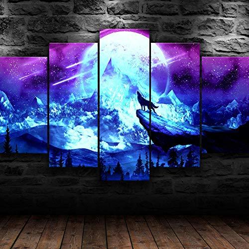 AWER 5 Piezas Pintura de lienzo de papel pintado Arte de lobo de luna llena Imágenes Póster Mural Hd Paisaje Naturaleza lienzo de escena Regalo Naturaleza Abstracto Frames