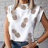 DYXYH Mujer Blusa Camisa Verano Casual Soporte Soporte Pullover Elegante Mujeres Tops Damas Blusa de Moda Manga Corta (Color : C, Size : XXL Code)