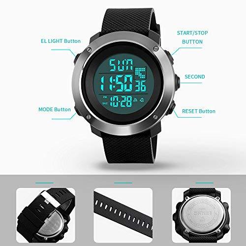 Montre numérique pour Homme,Compte à rebours LED écran Large Face Montre Bracelet étanche Alarme...