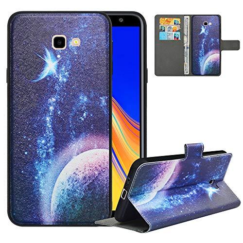 LFDZ Handyhülle für Samsung J4 Plus Hülle,Premium 2in1 PU Ledertasche für J4 Core Hülle,RFID-Blocker Flip Hülle Tasche Etui Schutzhülle für Samsung Galaxy J4 Plus/J4 Prime/J4 Core[2018],Planet