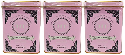 Cherry Blossom Tea, 20 Sachets in Tin by Harney & Sons - Pack of 3