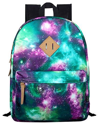 Ecocity Tempo Stile Galaxy Stelle Scuola Schick Laptop Backpack zaino, Verde