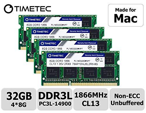 Timetec Hynix IC 32GB Kit (4x8GB) DDR3 PC3-14900 1866MHz Compatibile con iMac 17,1 w/Retina 5K Display (27-inch Late 2015) (32GB Kit (4x8GB))
