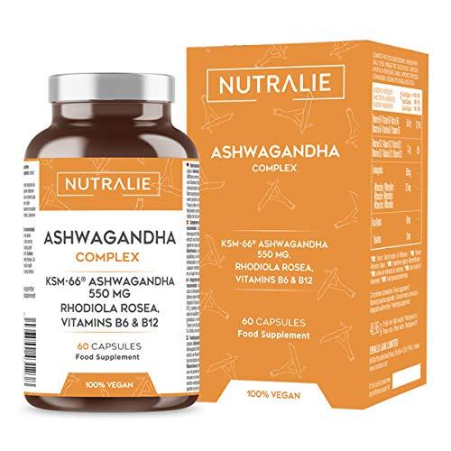 Ashwagandha KSM-66® 550mg con Vitamina B6 y B12 | 5% de Withanolidos | 100% Natural y Vegano | Complemento de Ayurveda | Withania Somnifera | Con 3% de Rhodiola Rosea | 60 Cápsulas Nutralie