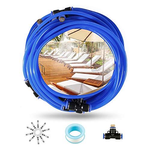 Kit di Nebulizzatore da Esterno Giardino Terrazzo, Impianto di Raffreddamento Nebulizzazione, Sistema di Irrigazione per Ombrellone, Gazebo, Serra, Giardino, Piscinaecc (10M / 32.8FT)
