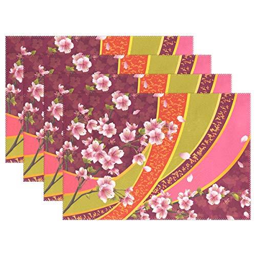 REFFW Cuisine Maison Cerise Fleur Japonaise Sakura Blossom Resistant Napperons De Table Tapis De Table 12x18 Pouce 6 Pièces Non Slip Home pour Table À Manger Chaleur Durable