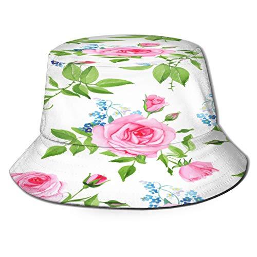 Sombrero Pescador Unisex,Forgetmenots Pink Roses Seamless Vector Print,Plegable Sombrero de Pesca Aire Libre Sombrero Bucket Hat para Excursionismo Cámping De Viaje Pescar