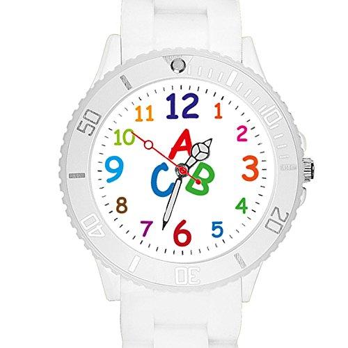 Taffstyle Kinder Armbanduhr Silikon Sportuhr Bunte Sport Uhr Kinderuhr Lernuhr Zahlen ABC Motiv Analog Weiß