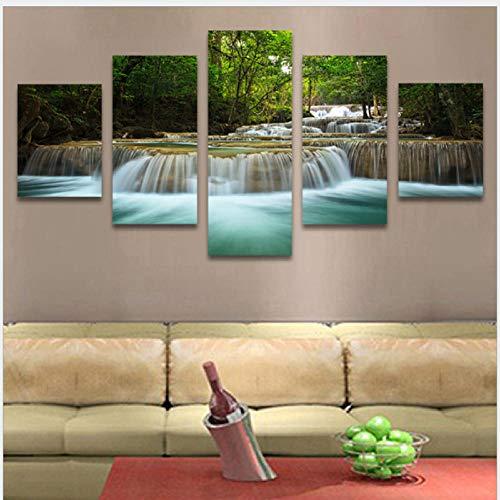 Pintura Decorativa Moderna Paisaje De La Cascada Impresión En Lienzo 5 Piezas...