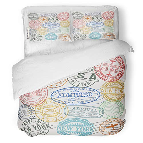 SanChic Duvet Cover Set Postage New York Stamp Symbol Passport Aged Decorative Bedding Set with 2 Pillow Cases Full/Queen Size