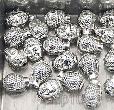 AD Beads Solid Metal Buddha Head Bracelet & Necklace Connector Charm Beads 20 Pcs (8x11mm One Sided Buddha Head, Vintage Antique Silver Tone)