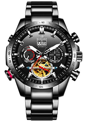 B BINGER Men's Complications Automatic Mechanical Watch with Stainless Steel Band (Black)