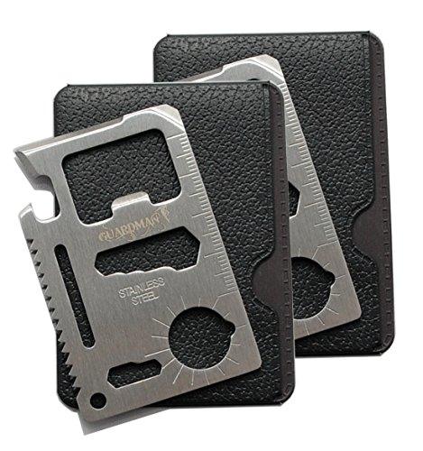 Guardman 2pcs 11 in 1 Multi Tool Credit Card Survival Tool Fits Perfect in Your Wallet (2 Pack) Valentines Day Gifts for Him Under 20 Dollars