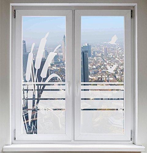 INDIGOS UG Sonnenschutz Kranich Sichtschutzfolie Glasdekorfolie Zugvögel Fensterbild Schilf satiniert Blickdicht - 500-2000 mm - Dekoration Sonnenschutz Folie