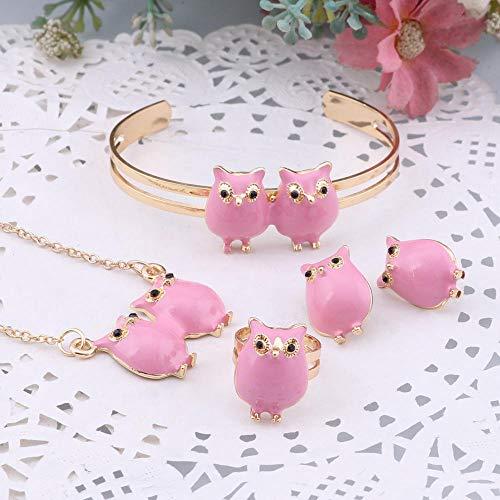 Juego de pulsera de búhos con colgante de búho, para niños, collar y pulsera, color dorado, collar, pulsera, anillos, pendientes y anillos, para bebés, niñas, conjunto de joyas de animales, color rosa