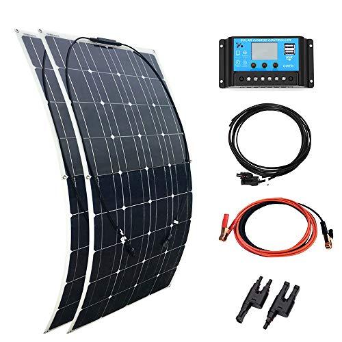 YUANFENGPOWER kit di Pannello Solare da 200 W, 2 pannelli solari flessibili da 100 W, monocristallino, regolatore solare 20 A, per camper, barca, auto, camper, roulotte, 12 V batteria