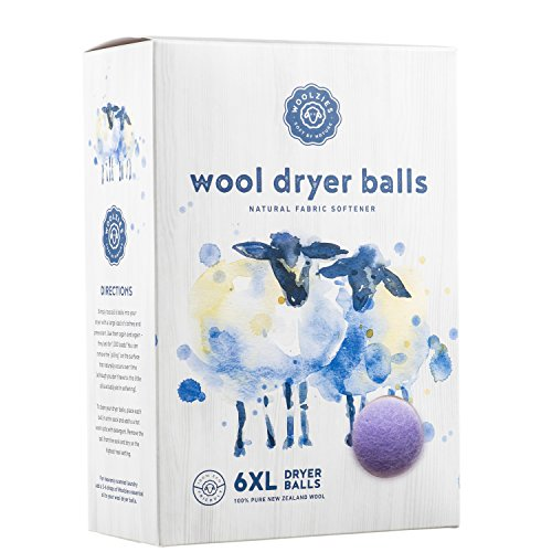 Woolzies Wool Dryer Balls Organic Big Wool Spheres Best Fabric Softener | 6-Pack XL Dryer Balls for Laundry is Made with New Zealand Wool | Use Laundry Balls for Dryer with Essential Oils (Lavender)