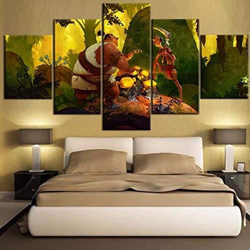 dxycfa 5 Panels Gemälde Urwald Modern Bilder Fertig Schöner Kunstdruck Auf Leinwand Wandkunst Für Hauptdekorationen 200Cmx100Cm