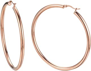 Caprice Jewelry - Rose Gold Tone 4mm High Polished Large Round Hoop Earrings 50mm