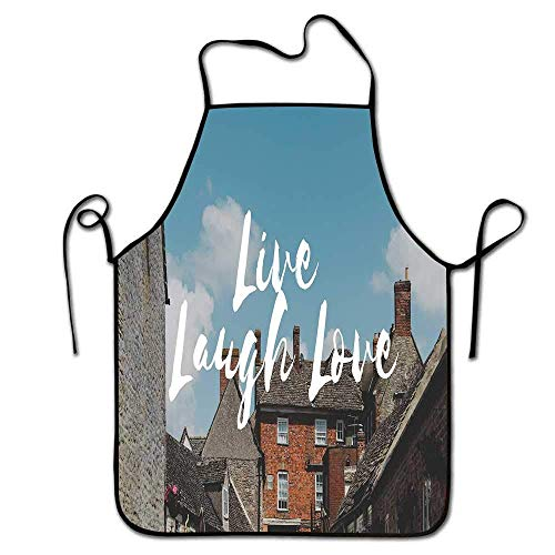 Not Applicable Live Laugh Love Apron Hombres Barbacoa Rústica Casas de Campo con composición de ladrillo Paisaje Relajante y una Cita Delantal Durable Multicolor