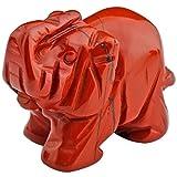 mookaitedecor Striped Red Jasper Crystal Elephant Sculpture Statue Crafts Healing Reiki Pocket Gemstone Figurines 1.5 Inch