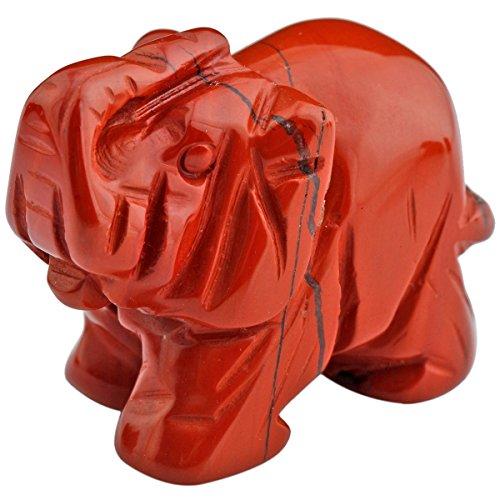 mookaitedecor Natural Stripes Red Jasper Elephant Ornament Figurine,Healing Crystal Energy Gemstone Reiki Statue Home Decor,1.5 Inches