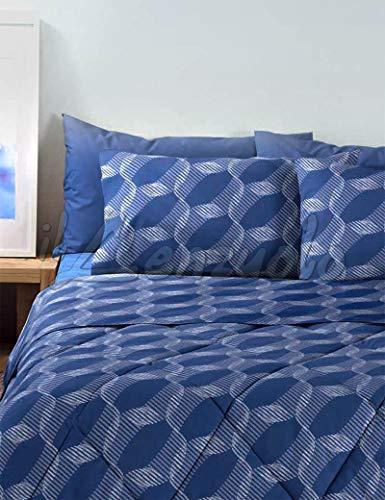 Bassetti Lenzuola matrimoniali Completo Ray in Puro Cotone Colore Blu