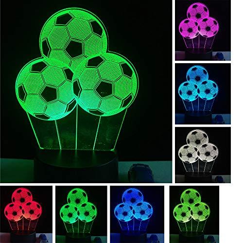 Fútbol 3D Illusion Lamp - Lámpara de decoración de tres patrones y 7 colores - Regalos perfectos para niños