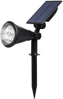 T-SUN Outdoor Solar Lights, 4 LED Solar Garden Lights, 2-in-1 Solar Spotlights, Auto On/Off, 180° Adjustable Decorative Li...