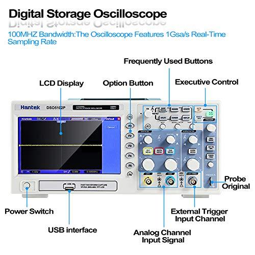 Hantek DSO5102P Osciloscopio digital, 2 canales, 1 GSa / s muestra en tiempo real, 100 MHz