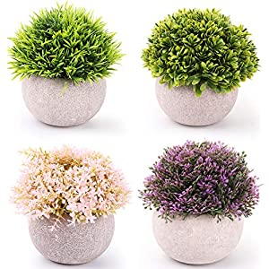 Nicunom 4 Pack Mini Artificial Plants Potted Fake Plants with Pots Artificial Greenery Green Grass Plastic Faux Topiary Shrubs for Bathroom Home Kitchen Office Farmhouse Decorations