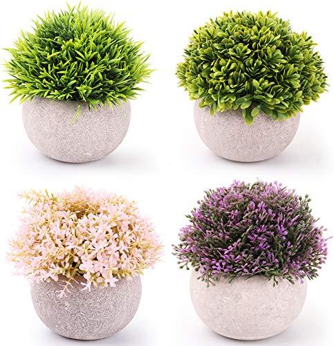 Nicunom Künstliche Mini-Pflanzen, Topfpflanzen mit Töpfen, künstliches grünes Gras, Kunststoff, künstlicher Formschnittstrauch für Badezimmer, Zuhause, Küche, Büro, Bauernhaus, Dekoration, 4 Stück