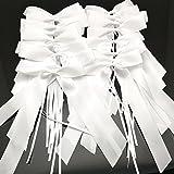 FQTANJU 30 pcs Delicate Wedding Pew End Bowknots Ribbon Bows Cars Chairs Decorations. (white)