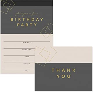 "Birthday Party Invitations & Matching Thank You Cards (100 of Each) Set with Envelopes, Large Family or Office Birthday Celebration 5 x 7"" Fill-in Invites & Folded Thank You Notes Best Value Pair"