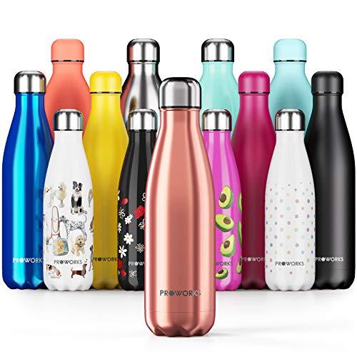 Proworks Edelstahl Trinkflasche | 24 Std. Kalt und 12 Std. Heiß - Premium Vakuum Wasserflasche - Perfekte Isolierflasche für Sport, Laufen, Fahrrad, Yoga, Wandern und Camping - 1 Liter - Kupfer
