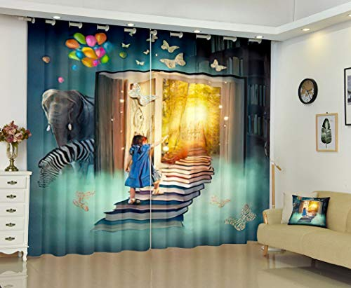 Butterfly Book Curtains,Soundproof Blackout Curtains for Bedroom Living Room Window Drapes 2 Panel Set,Little Girl Walking Up Stairs to The Magic Book Land,52WX84L Inches