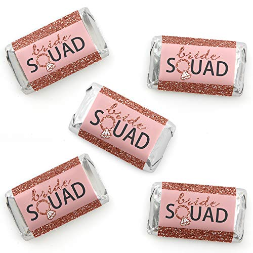 Bride Squad - Mini Candy Bar Wrapper Stickers - Rose Gold Bridal Shower or Bachelorette Party Small Favors - 40 Count