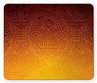 エスニックファッション通気マウスパッド、マスク付きの神秘的なアフリカ部族の壁のモチーフ儀式的な神秘的なアートワーク、標準サイズの長方形の滑り止めラバーファッション通気マウスパッド、バーントオレンジ